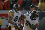 672 Steelers wide receiver #86 Hines Ward celebrates his touchdown with running back #34Vernon...