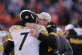 114 Steelers quarterback #7 Ben Roethlisberger gets a hug and words of congratulations from...