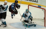 (DENVER, COLO.,  May 4, 2004)  Colorado Avalanche's #38,. Matthew Barnaby, center, trys to leap...