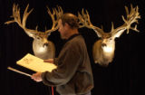 Trophy Show Productions, INC., Roger Selner, of Montana works on the finishing touches of his...