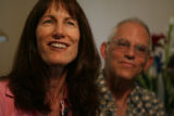 MJM054  Joanne James, 56, left, sits beside her boyfriend Dennis Christensen, 58, on Wednesday,...