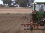 KAS094 A worker operates a tractor with a planter attached at Grant Family Farms, the state's...