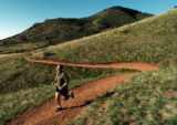 (GOLDEN  Colo., May 5, 2004 )  Jim Leggett, of Broomfield , runs along the dirt  trails at Mathews...