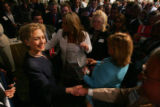 New York Senator Hillary Rodham Clinton greets attendees after her speech at the Democratic...