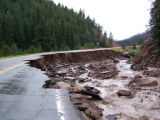 Hwy 67 devastation caused by recent flooding in Hayman fire area between Deckers and Westcreek,...