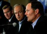 COEA104 - United State Olympic Committee CEO Jim Scherr, right, talks about the cities of Chicago,...