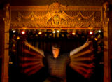 Doug Kauffman, owner of the Ogden Theater, poses for a portrait using a long exposure on the...