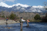 Chuck and Suzanne Faerber cast for trout on the stretch of the Arkansas River where they were...