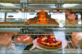 Pastry specialties on display at California Bakery, a bakery and restaurant in an ethnic shopping...