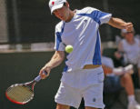 KAS400 Jeremy Wurtzman returns the ball during his match against Bart Scott during the men's...