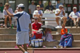KAS679 Jeremy Wurtzman signals to officials during his match against Bart Scott during the men's...