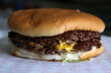 MJM753  The menu at Grandpa's Burger Haven in Denver on South Federal Blvd. features a triple...