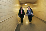 Rep. Diana DeGette, D-Colo., walks through the basement of the Longworth Building with her Chief...