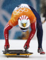Jim Shea of the USA is on his way to a gold medal in  the men's skeleton at the 2002 Salt Lake...