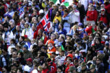Fans of every nation turned out in their country's colors to cheer on their skiiers at the Men's...