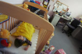 JPM202 -  A six-month-old boy sleeps in the staff office of the Gathering Place in Denver on...