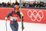 Lindsey Kildow reacts to coming in 8th in the women's downhill at San Sicario Fraiteve, Italy on...