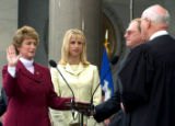 NYT7 - (NYT7) HARTFORD, Ct. -- July 1, 2004 -- CT-GOVERNOR -- Jodi Rell, left, being sworn in as...