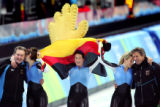The German Women's Team Pursuit Speed Skating team (left to right) Daniela Anschuetz Thjjoms (#1),...
