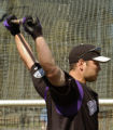 Rockies outfielder Matt Holliday warms up for some batting during practice Friday morning February...