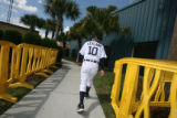 Detroit Tigers' new manager Jim Leyland (10) heads back to the clubhouse after the first day of...