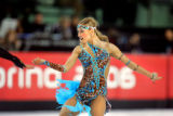 Russian figure skaters Tatiana Navka and Roman Kostomarov (left, out of frame) perform during the...