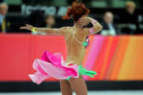 The costume of Italian figure skater Barbara Fusar Poli twirls along with the movement of Fusar...