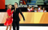 American figure skating couple Tanith Belbin (left) and Benjamin Agosto (right) react happily...