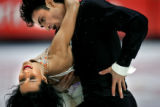 Canadian figure skating couple Marie-France Dubreuil (left) and Patrice Lauzon (right) perform...