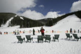 Not a lot of crowds skiing at the bottom of North Peak at Keystone Monday, February 20, 2006. ...