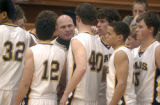Eads High School basketball coach Shawn Randel (cq) talks to his time during a game against...