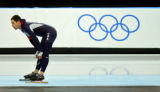 U.S. speed skater Chad Hedrick reacts to his time after finishing the Men's 1500 Meter Speed...