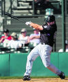 Colorado Rockies infielder Ian Stewart at bat during a spring Training game against the White Sox...
