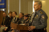 far right at podium in uniform, Police Chief Luis Velez, (cq)  held a press conference at police...