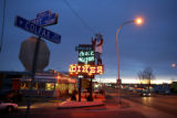 A customer pulls into Davies'  Chuckwagon Diner in the pre-dawn hours on Wednesday, March 8,...