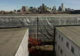 A view of the Campus Village Apartments at 4th and Walnut Streets on Auraria campus with the...