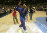 Denver native and former University of Colorado basket ball stand out, Chauncey Billups waves to...