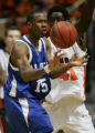 JPM260  Air Force Academy Falcon Antoine Hood, #15, bobbles the ball under pressure from Illinois...