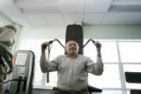 At Frasier Meadows, in Boulder, Hugh Matheson (cq) 78, does a short workout at the facility's...