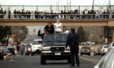 (AURORA, Colo., Feb. 2, 2006) A Aurora Police officer stops a vehicle of students as Overland High...