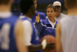 JPM0420 Air Force Academy men's basketball coach Jeff Bzdelik at practice in Clune Arena on the...