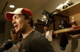 CENTENNIAL., Colo., Feb. 22, 2006) Colorado Avalanche Brad May, chats with reporters at the end of...