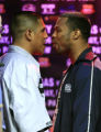 NVJH104 - Shane Mosley, right, and Fernando Vargas, left, have words as they face off for a photo...