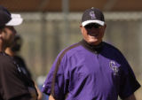 Rockies manager Clint Hurdle keeps an eye on practice  Monday morning February 26, 2006 at Hi...