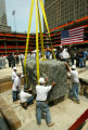 NYT5 - (NYT5) NEW YORK -- July 4, 2004 -- WTC-CORNERSTONE-5 -- A sparkling 20-ton block of granite...
