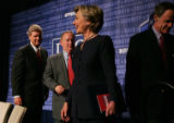 U.S. Senator Hillary Rodham, D-NY, greets attendees of Democratic Leadership Council's annual...