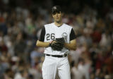 Colorado Rockies  LHP Jeff Francis during the top of the ninth inning of play Monday night July...