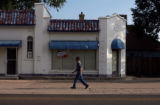 Vincent Hernandez(cq), 75, takes his morning walk down 3rd Street in La Junta Wednesday Aug. 3,...