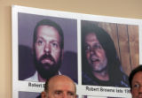 Photos of confessed serial killer Robert Browne are posted on a wall at the El Paso Sheriff's...