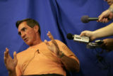 Denver Broncos Mike Shanahan speaks to the media the day before two-a-day workers outs begin for...